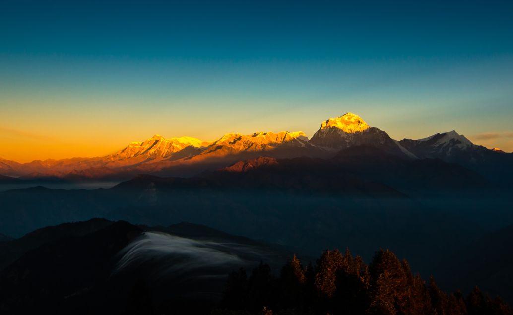 Východ slunce nad Himalájemi